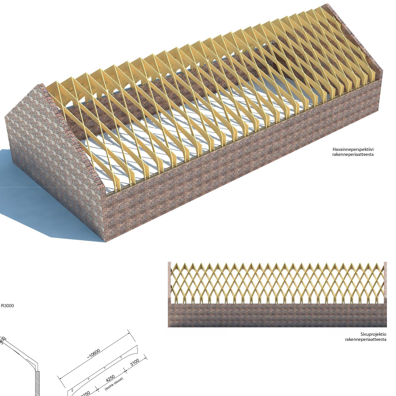 Puukehärakenne navettarakennuksen katon uudistamiseen